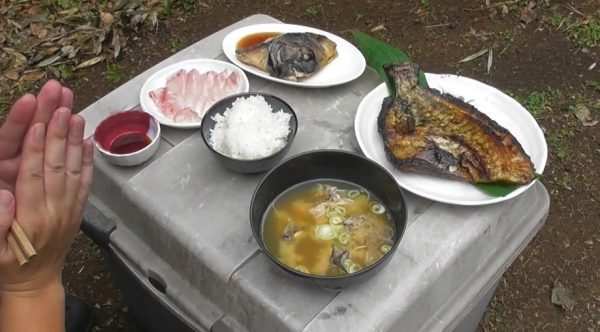 """モリで突いた石鯛で作る""""豪華朝食""""! 脂の乗った熟成刺身や干物や兜煮を作り上げ「すごいです」の声"""