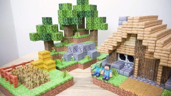 """マイクラをペーパークラフトで再現! ブロックを400個以上使った""""小さな家がある風景""""に「すご」「クオリティーが高い」と称賛の声"""