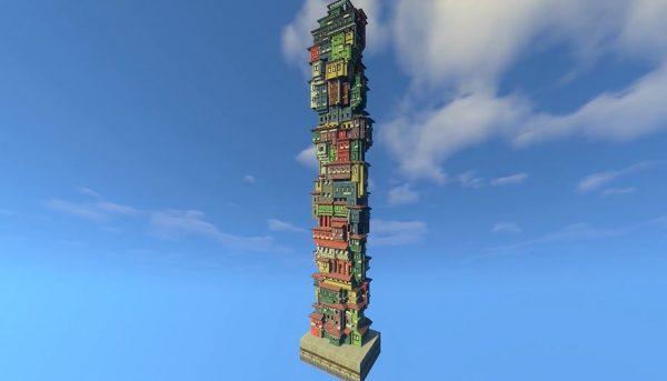 マインクラフトで建物をひたすら積んでみた! 香港のアパートみたいなカラフルな部屋が重なって「最高か?」「こういうの好き」の声