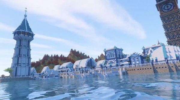 """マインクラフトで作った白と青の港町…美しい建築が続く""""灯台のある街並み""""が完成し「素晴らしい」「はえ~すっごい」の声"""