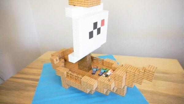 『Minecraft』のペーパークラフトブロックで小さな船を作ってみた! これぞまさにリアルマインクラフト!?