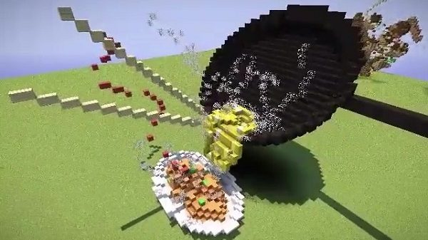 マイクラで「オムライスが完成する瞬間」を再現する猛者があらわる! トロ~リ卵やお箸、湯気までブロックで再現する作品に「なんだ、ただの神か」