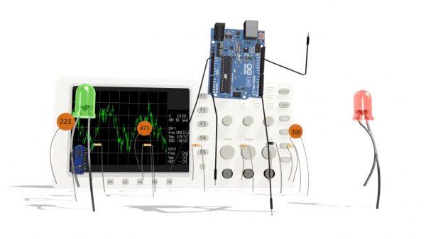 """電子基板""""Arduino""""を踊らせてみた!? セラミックコンデンサ、LED、抵抗を従え迫力のダンスパフォーマンスを披露"""
