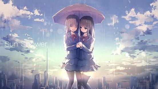 とっても仲良し! 「相合傘」をする女の子たちのイラスト詰め合わせ
