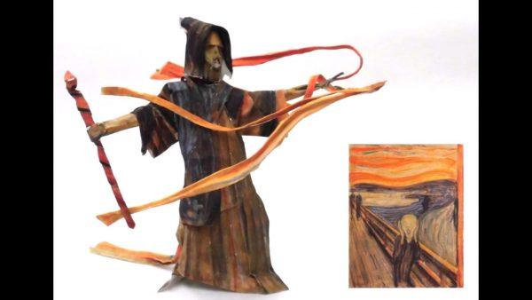 """ムンク『叫び』を切り貼りして魔術師像を作ってみた! 炎の呪文を""""叫ぶ""""力強い立ち姿に「カッコいい!!」「ヘヴン状態」の声"""