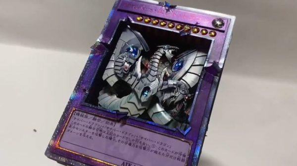 """『遊戯王GX』サイバー・エンド・ドラゴンのカードを""""光るギミック""""を搭載して立体化…フレームを破壊する圧倒的なパワーを表現し「かっけぇ」の声"""