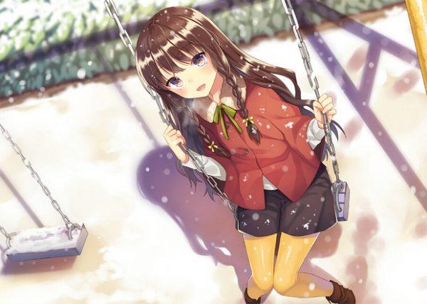公園で一緒に遊ぼ! 「ブランコ」に乗った女の子イラスト詰め合わせ