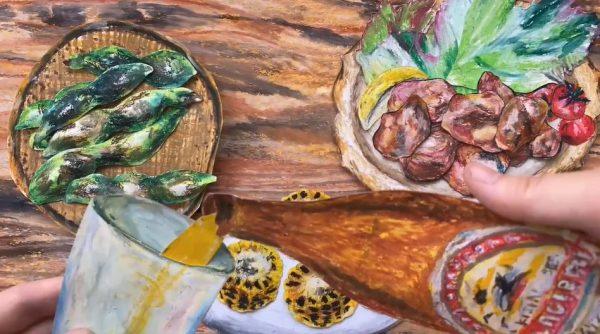 """""""紙で描いた""""調理と食事風景のストップモーション 絵本のような台所でソラマメや唐揚げなどの酒のつまみが次々と完成!"""