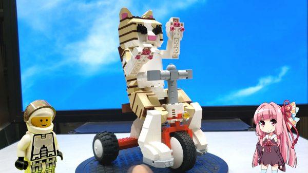 レゴでからくり人形…ですか!? 三輪車をこがせると前足をにゃんにゃん動かし尻尾も振っちゃう猫を作ってみた