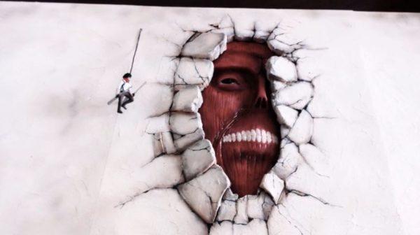 ダイソーの材料で『進撃の巨人』のワンシーンを作ってみた! 壁の中に潜む巨人の迫力へ「すごい」「サクッと作るなw」の声
