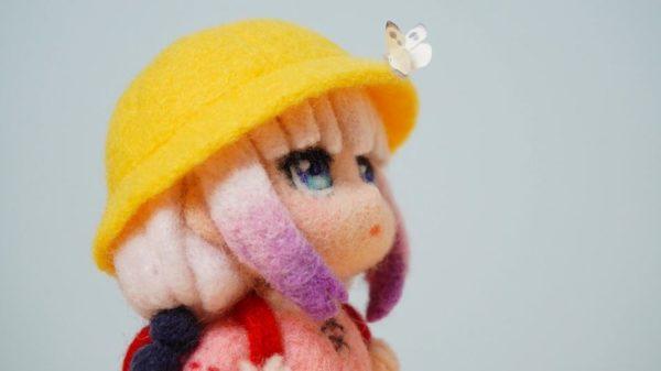 『小林さんちのメイドラゴン』カンナを羊毛フェルトで作ってみた! 帽子にとまったチョウチョを見つめる姿に「ぼへええええええええ」と大量の才川が湧く